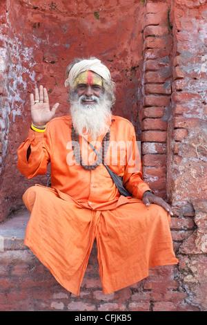 Sadhu (Holy Man), Pashupatinath Temple, Kathmandu, Nepal, Asia - Stock Photo