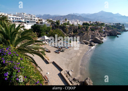 View from Balcon de Europa of Nerja, Andalusia, Spain, Europe - Stock Photo