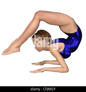 Girl Doing Yoga - Scorpion Pose - Stock Photo