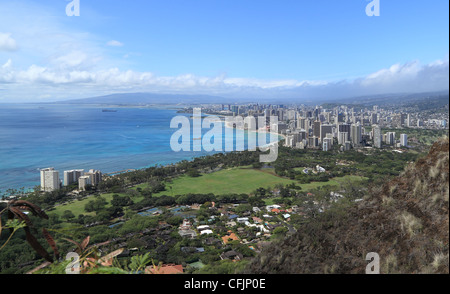 View of the city of Honolulu and surrounding area from the summit of Diamond Head Crater. - Stock Photo