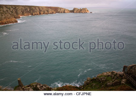 porthcurno on the south cornish coast - Stock Photo