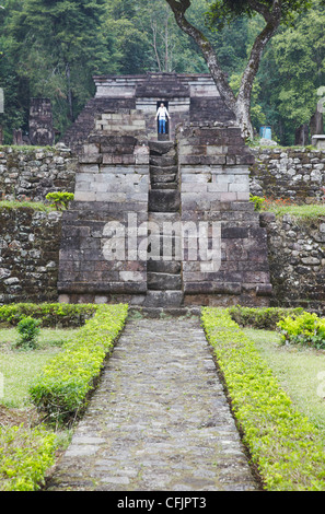 Tourist at Inca style temple built without use of mortar, Candi Sukuh, Solo, Java, Indonesia, Southeast Asia, Asia - Stock Photo