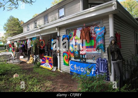 Shop selling hippie and Woodstock festival memorabilia, New York State, United States of America, North America - Stock Photo