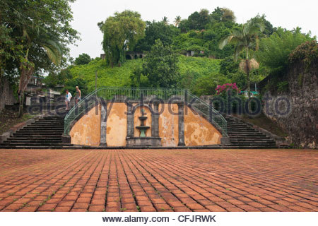 Ruins of the Theatre destroyed by Mount Pelee volcano, West Indies, Caribbean, Central America - Stock Photo