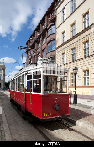 City tram, Old Town, Wroclaw, Silesia, Poland, Europe - Stock Photo