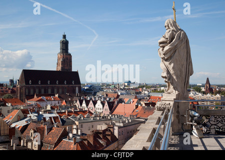 View from University, Old Town, Wroclaw, Silesia, Poland, Europe - Stock Photo