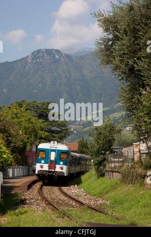Train, Sale Marasino, Lake Iseo, Lombardy, Italy, Europe - Stock Photo