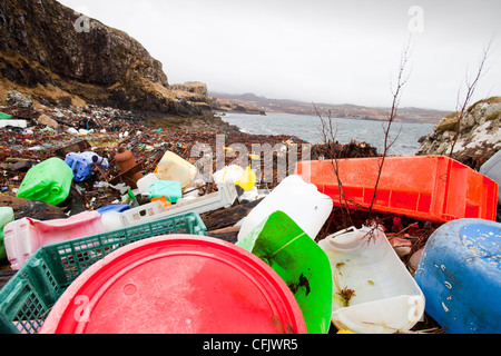 Plastic debris washed ashore at Ardtreck Bay on the Isle of Skye, Scotland, UK.