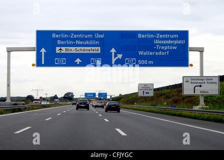 Motorway in front of the Schoenefelder Kreuz in the direction of the Airport BBI in Schoenefeld. - Stock Photo