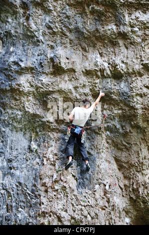 Gordale Scar is a dramatic limestone ravine,Climbers Paradise,Abseiling,Scrambling, Rock Climbing,Malham,North Yorkshire,UK - Stock Photo