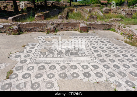 Ostia Antica. Lazio. Italy. View of the fine black and white mosaic floor of the Hall of the Mesores (grain measures). - Stock Photo