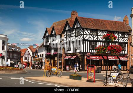 Warwickshire, Stratford on Avon, Bridge Street, Costa Coffee in half timbered building on Henley Street junction - Stock Photo