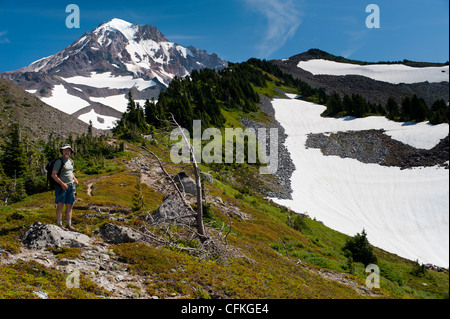 Hiker on the McNeil Ridge of Mt Hood volcano. Glisan Glacier and Ladd Glacier above. Cathedral Ridge (L) Yocum Ridge - Stock Photo