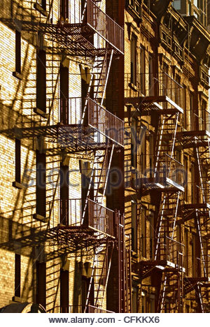 detail of building with fire escape manhattan new york