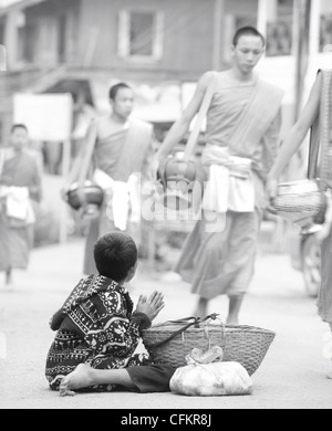 Young boy begging for food from monks who have  been given food at the daily alms giving ceremony in Luang Prabang, - Stock Photo