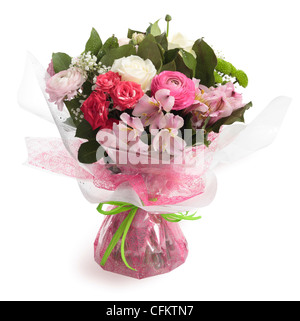 Bouquet of Flowers including roses, ranunculus, alstroemeria, Peruvian lily and green chrysanthemum. - Stock Photo