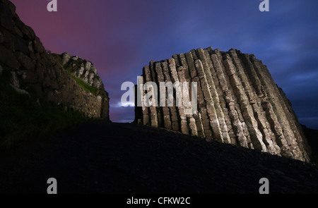 Giant's Causeway in County Antrim, Northern Ireland, photographed (and light painted) on October 12, 2011. (Adrien - Stock Photo