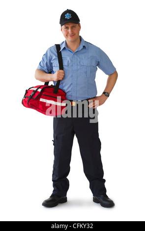 Studio portrait of emergency medical technician - Stock Photo