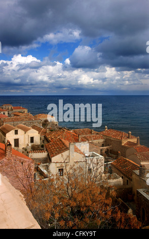 Traditional houses in the medieval 'castletown' of Monemvasia (or 'Malvasia'), in Lakonia Prefecture, Peloponnese, - Stock Photo