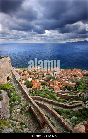 The medieval 'castletown' of Monemvasia (or 'Malvasia'), in Lakonia Prefecture, Peloponnese, Greece - Stock Photo