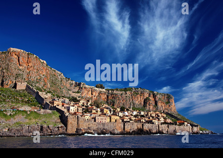 Impressive view of the medieval 'castletown' of Monemvasia from the sea, during a boatride. Lakonia, Peloponnese, - Stock Photo