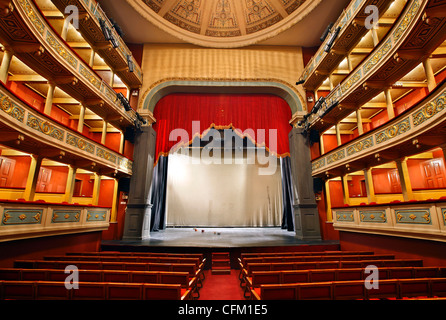 Inside view of the Apollo Municipal Theater, of the city of Patras, Achaia, Peloponnese, Greece. - Stock Photo