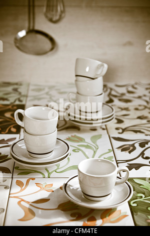 several espresso cups old-fashioned tiles - Stock Photo