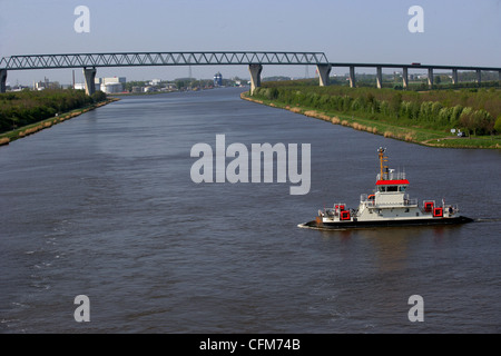 Ferry at Kudensee, Kiel Canal, Schleswig-Holstein, Germany, Europe - Stock Photo