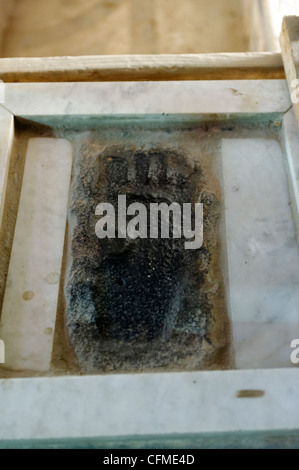 Cairo. Egypt. View of the footprint of the Prophet Muhammad inside the Mosque of Qaitbey in the city of the dead. - Stock Photo