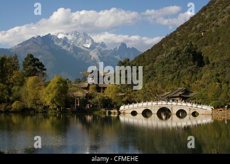 Black Dragon Pool Park and Jade Dragon Snow mountain, Lijiang, Yunnan, China, Asia - Stock Photo