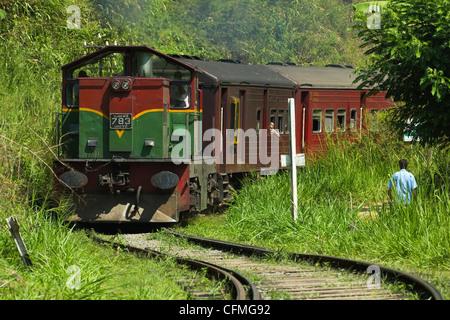The Badulla to Colombo train, Ella, Sri Lanka, Asia - Stock Photo