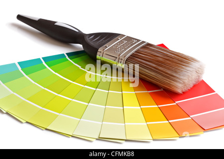 Paint brush  and swatches - Stock Photo