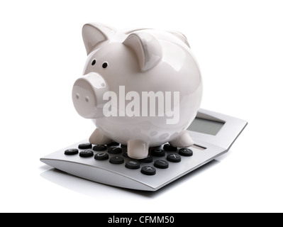 Piggy bank with calculator - Stock Photo