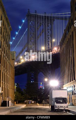 Manhattan Bridge viewed from the Brooklyn side in New York City. - Stock Photo
