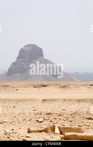 Dahshur. Egypt. View of the collapsed ruins of the Black Pyramid of Pharaoh Amenemhat III at Dahshur royal burial - Stock Photo