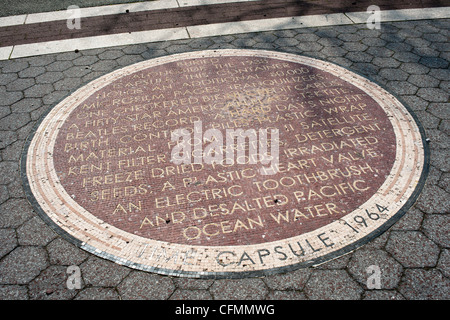 A mosaic in Flushing Meadows park in Queens in New York commemorates the World's Fair time capsule - Stock Photo
