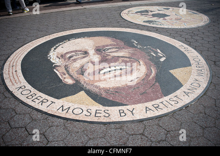 A mosaic by the artist Andy Warhol embedded into the surface of Passarelle Plaza in Flushing Meadows Park in Queens - Stock Photo