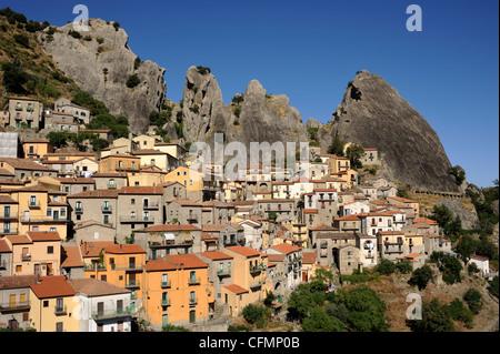 italy, basilicata, dolomiti lucane regional park, castelmezzano - Stock Photo