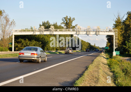 Average speed control gate with cameras made for speed limit on highway - Stock Photo