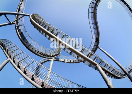fisheye view of Tiger & Turtle, pedestrian rollercoaster, Duisburg-Wanheim, Germany Stock Photo