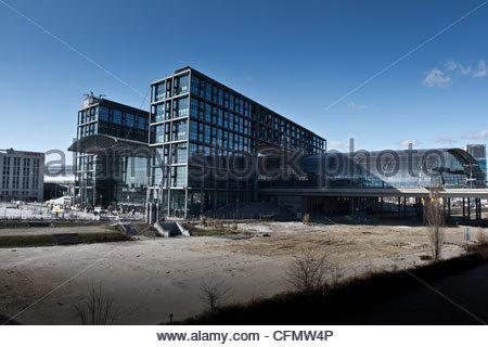 Railway central station in Berlin Hauptbahnhof - Stock Photo
