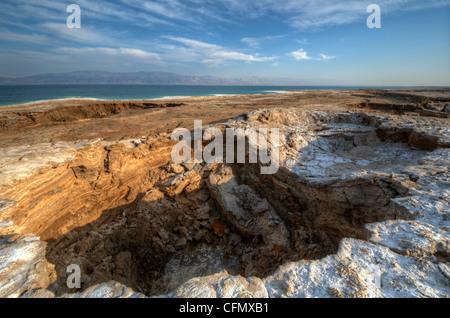 Sink holes near the Dead Sea in Ein Gedi, Israel. - Stock Photo