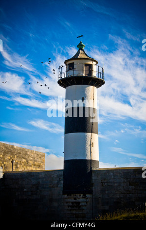 The lighthouse on Southsea Castle in Portsmouth, Hampshire - Stock Photo