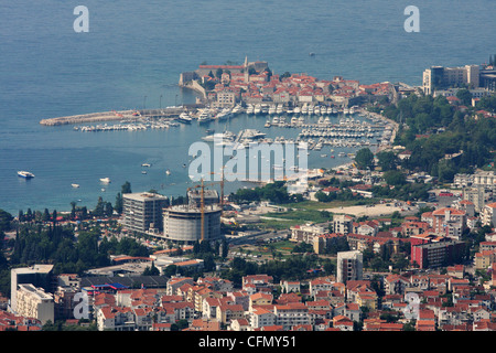 view from the hill of the Budva old town and marina. Montenegro