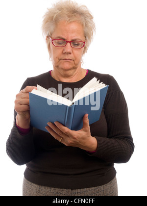 Middle-aged woman reading a book isolated on white background - Stock Photo