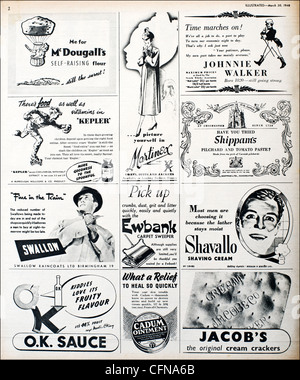 Original full page of advertisements in magazine of the 1940s advertising consumer products of the period - Stock Photo