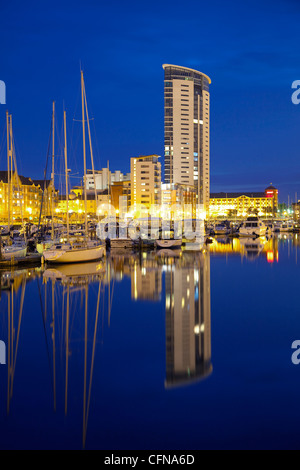 Swansea Marina, Swansea, West Glamorgan, South Wales, Wales, United Kingdom, Europe - Stock Photo