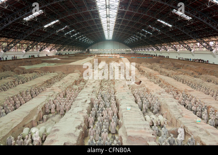 Terracotta Warriors Army, Pit Number 1, Xian, Shaanxi, China, Asia - Stock Photo
