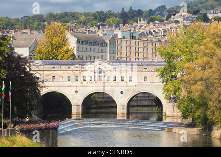 Pulteney Bridge on River Avon, Bath, UNESCO World Heritage Site, Somerset, England, United Kingdom, Europe - Stock Photo