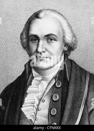 Vintage portrait print of American statesman and judge Oliver Ellsworth (1745 - 1807) - the third US Chief Justice - Stock Photo